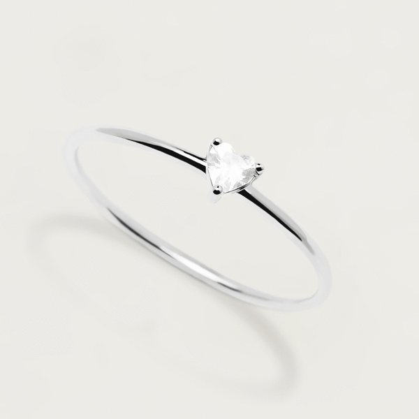 PD Paola White Heart Ring, Silver