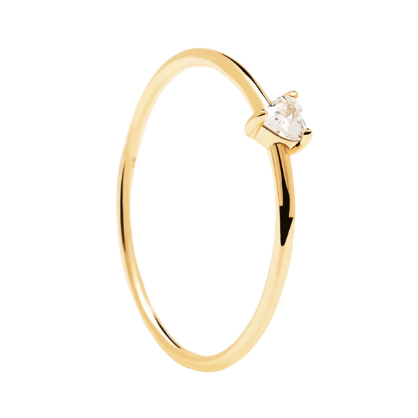 PD Paola White Heart Ring, Gold