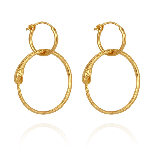 Temple of the Sun Serpent Earrings, gold