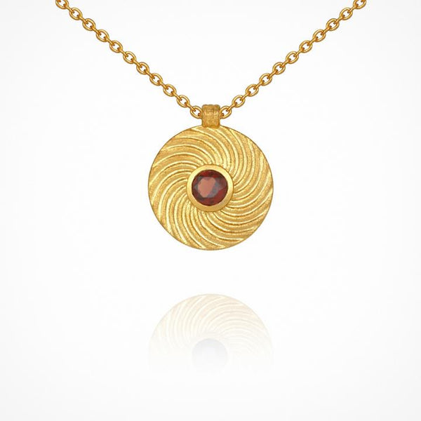 Temple of the Sun Shine Necklace with Garnet, Gold
