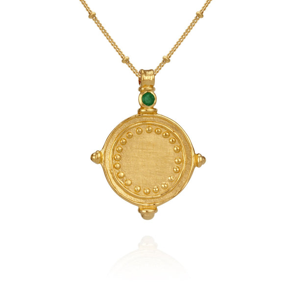 Temple of the Sun Sura Emerald Necklace, Gold