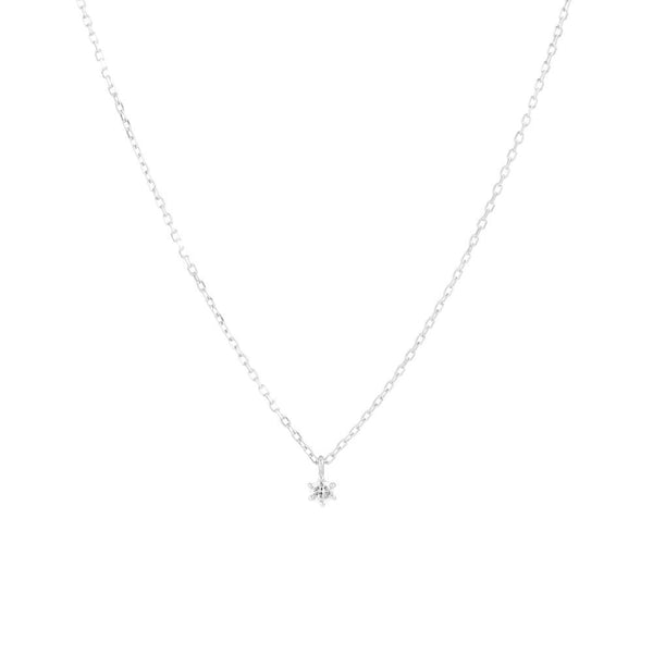 By Charlotte 14k White Gold Sweet Droplet Diamond Necklace