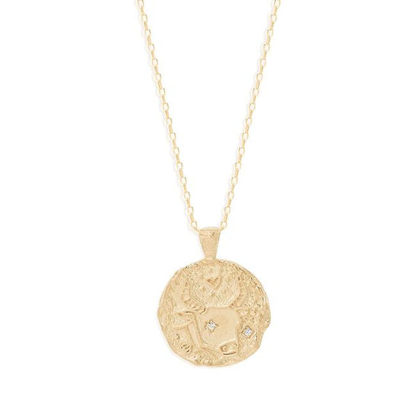 By Charlotte Taurus Zodiac Necklace: Gold/ Rose Gold/ Silver