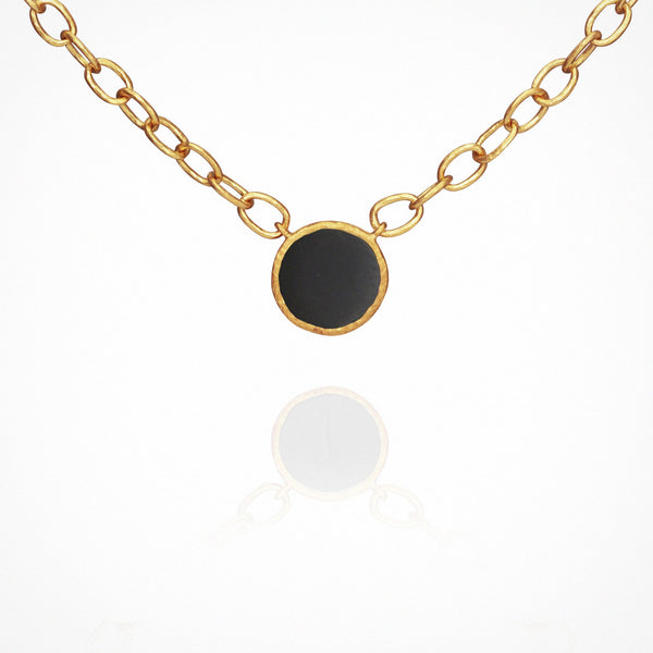 Temple of the Sun Aegean Onyx Necklace, Gold