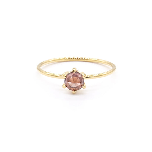 Natalie Marie Tiny Rose Cut ring with Peach Zircon, gold