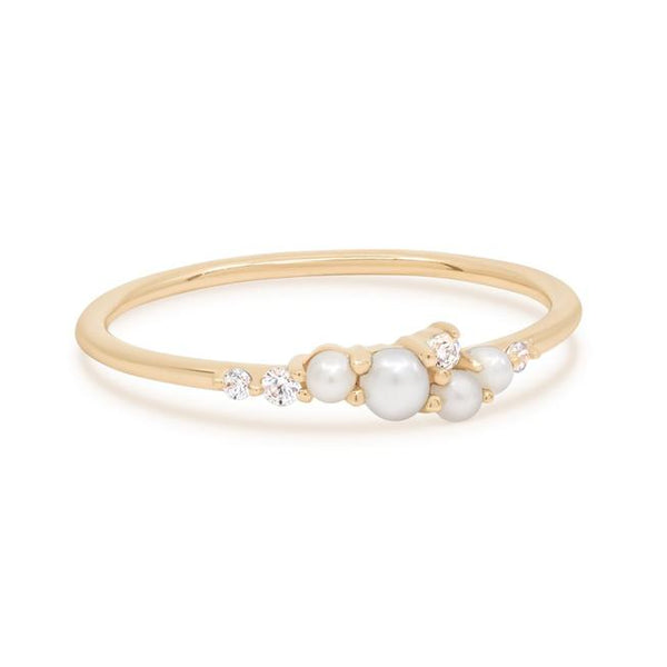 By Charlotte 14k Gold Pearl and Diamond Tranquillity Ring