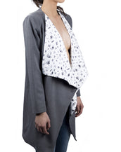 Coat With Lapels - Gray