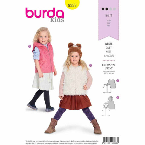 Sewing Pattern- BURDA 9333 - Fur Vest/Waistcoat - Quilted Vest/Waistcoat with a Hood