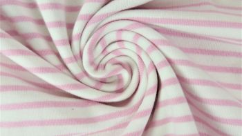 Rose and White Irregular Spaced Stripes, by the 1/2 m, Jersey Knit Fabric, European knits (4646665420860)