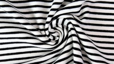 Black and White Irregular Stripes, by the 1/2 m, Jersey Knit Fabric, European knits (4399863300156)