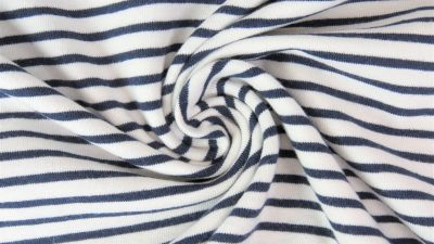 Navy and White Irregular Stripes, by the 1/2 m, Jersey Knit Fabric, European knits (4428571377724)