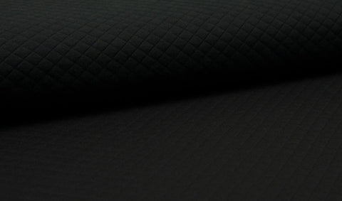 Black, Solids, Diamond Quilted Jersey Knit Fabric by the 1/2 Meter, European knits