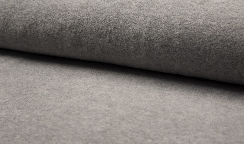 Sherpa- Light Grey, Knit Fabric, per 1/2 meter, European knits (2442696163388)