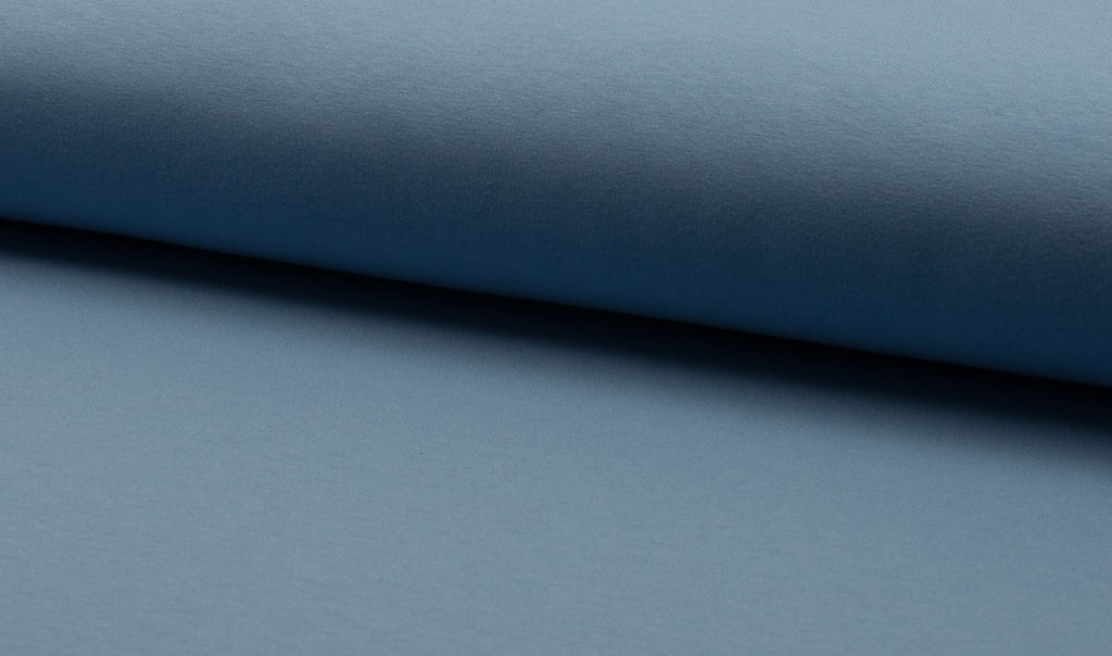 Dusty Blue, Solids, French Terry Brushed Knit Fabric by the 1/2 Meter, European knits (783665922108)