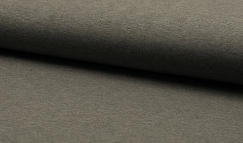 Dark Grey Melange, Solids, French Terry Brushed Knit Fabric by the 1/2 Meter, European knits