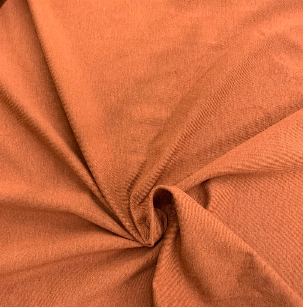 Rust, Bamboo Spandex Stretch Jersey Fabric, per 1/2 meter, 250 gsm