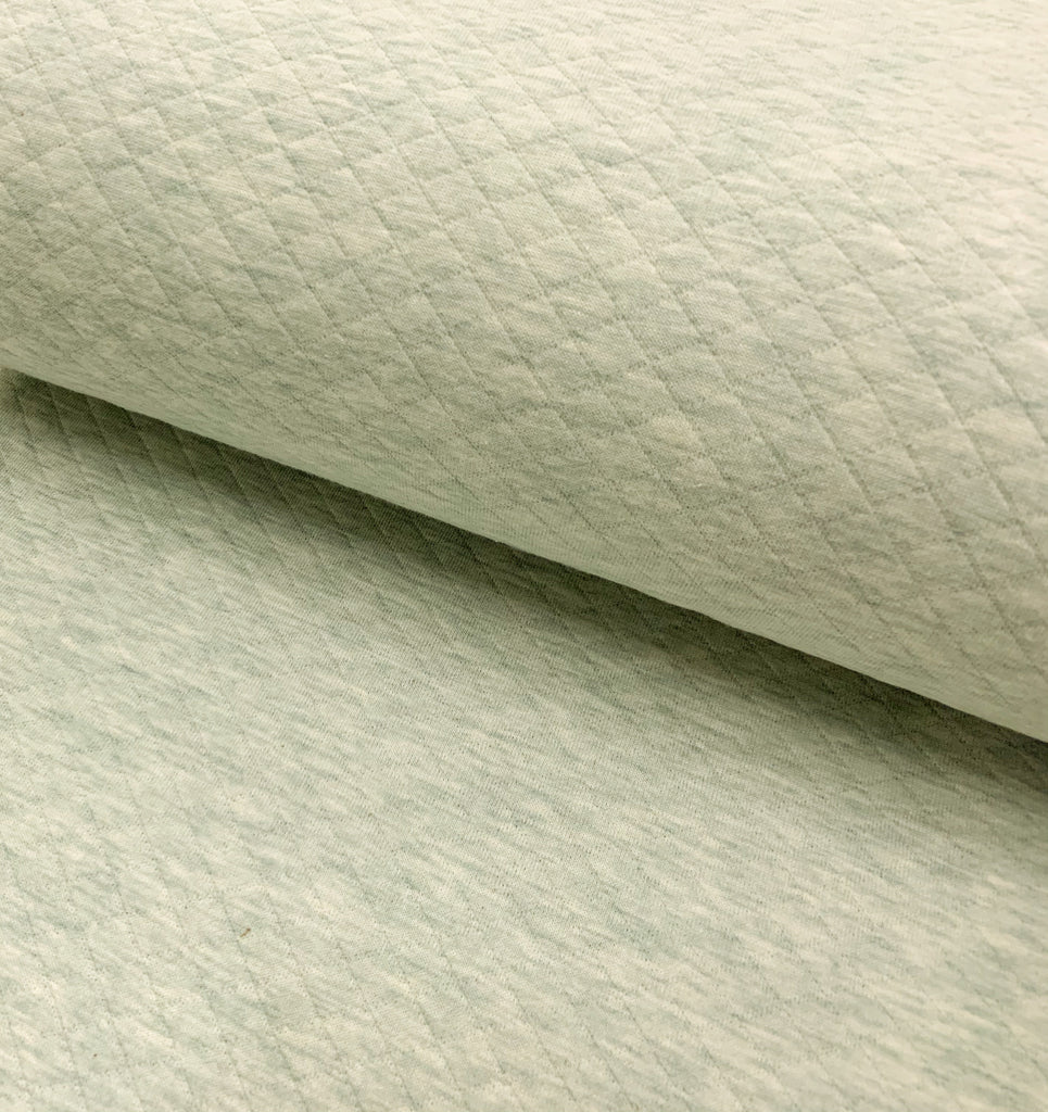 Mint Melange, Diamond, Quilted Jersey Knit Fabric by the 1/2 Meter, European knits (4626998657084)