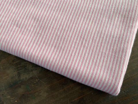 2 mm Baby Rose-White Stripes, by the 1/2 m, Jersey Knit Fabric, European knits (487887142950)