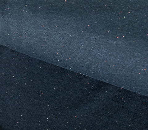 Sprinkles - Navy - Brushed Sweat | Knit Fabric by the 1/2 Meter| (2404439719996)