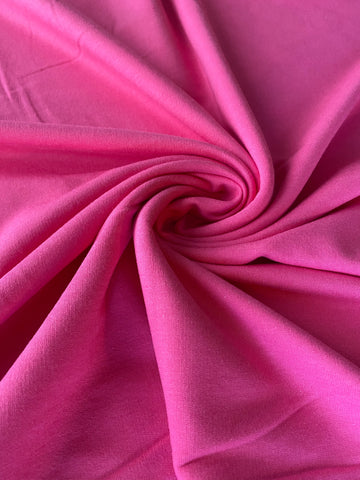 Hot Pink - Solids, BAMBOO FRENCH TERRY Knit | PER 1/2 Meter | 270 GSM (6258623316153)