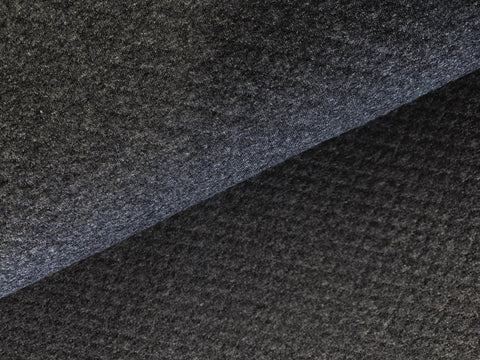 Charcoal Melange, Diamond, Quilted Jersey Knit Fabric by the 1/2 Meter, European knits