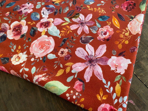 Painted Florals on Clay, per 1/2 meter, Digital Organic Jersey, European knits (6145299415225)