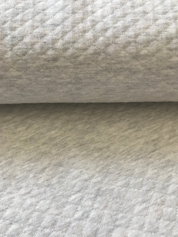 Oatmeal, Diamond, Quilted Jersey Knit Fabric by the 1/2 Meter, European knits