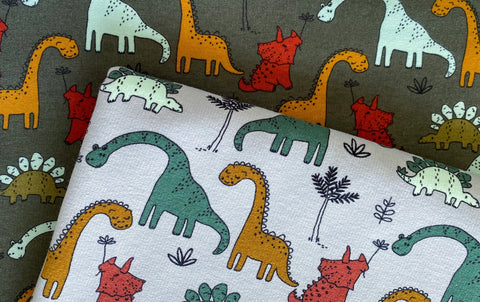 Jungle Dinosaurs, Organic  Brushed Knit Fabric by the 1/2 Meter, European knits (6705118347449)