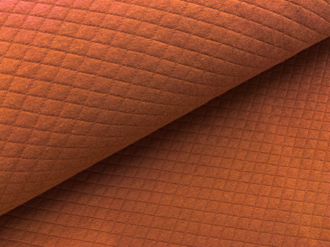 Rust, Diamond Quilted Jersey Knit Fabric by the 1/2 Meter, European knits
