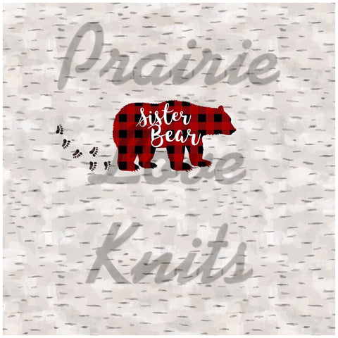 CHILD PANEL- Sister Bear on Birch, Knit Fabric, PLK Custom, R13, In Stock Retail
