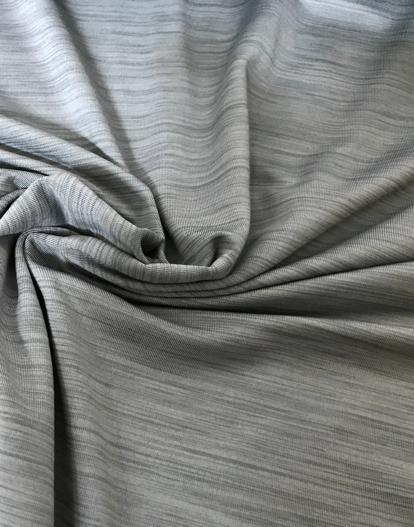 Brushed Wicking Poly Knit- Heather Silver, PER 1/2 Meter, Apparel (674850471996)