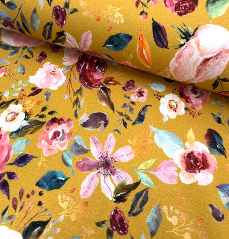 Painted Florals on Mustard, per 1/2 meter, Digital Organic Jersey, European knits (6005861777593)