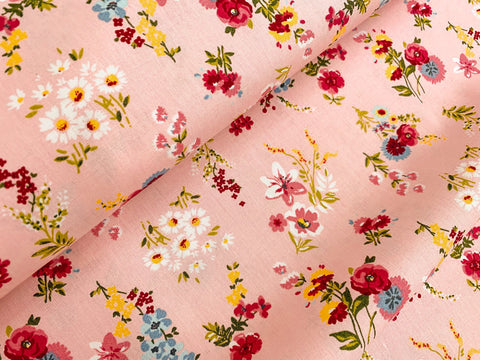 Dainty Garden on Pink, Woven Cotton Poplin by the 1/2 METER (4467060670524)