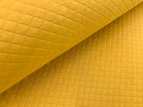 Dark Curry, Diamond, Quilted Jersey Knit Fabric by the 1/2 Meter, European knits (3683933651004)