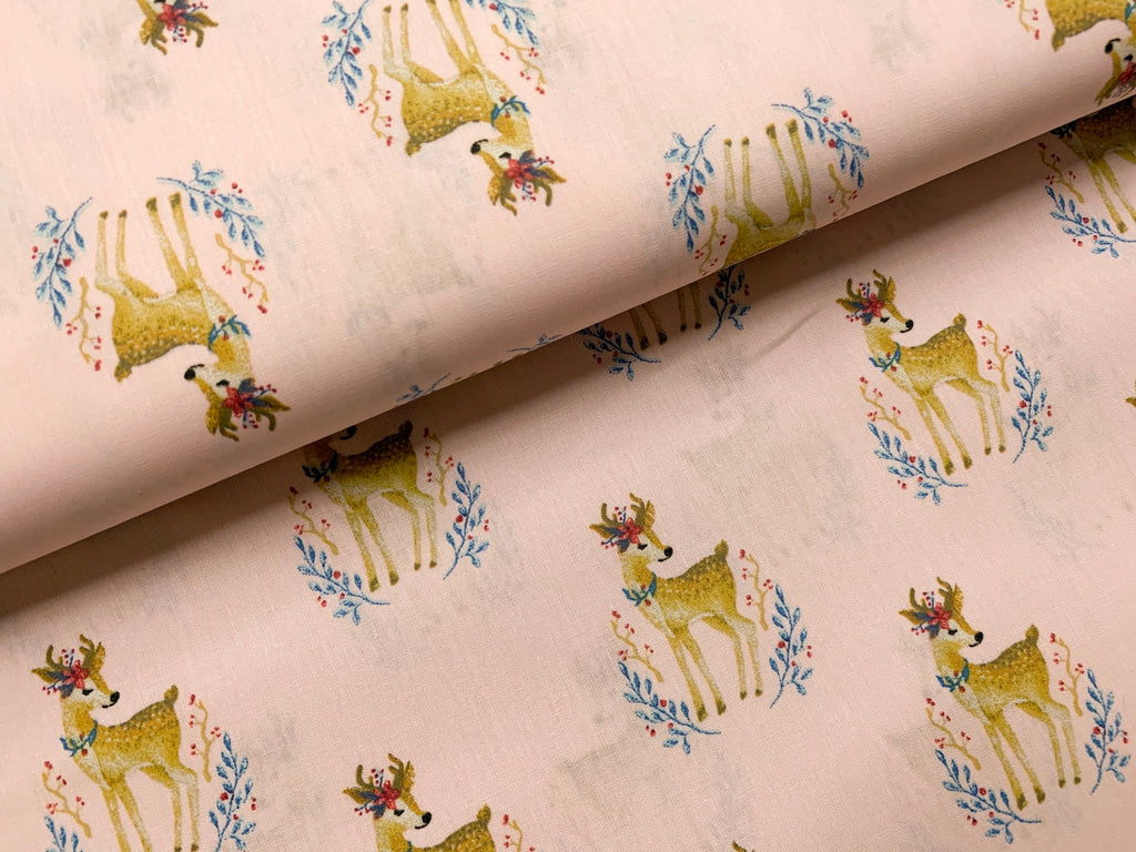 Woodland Deer- Pink, Woven Cotton Poplin by the 1/2 METER (4352211976252)
