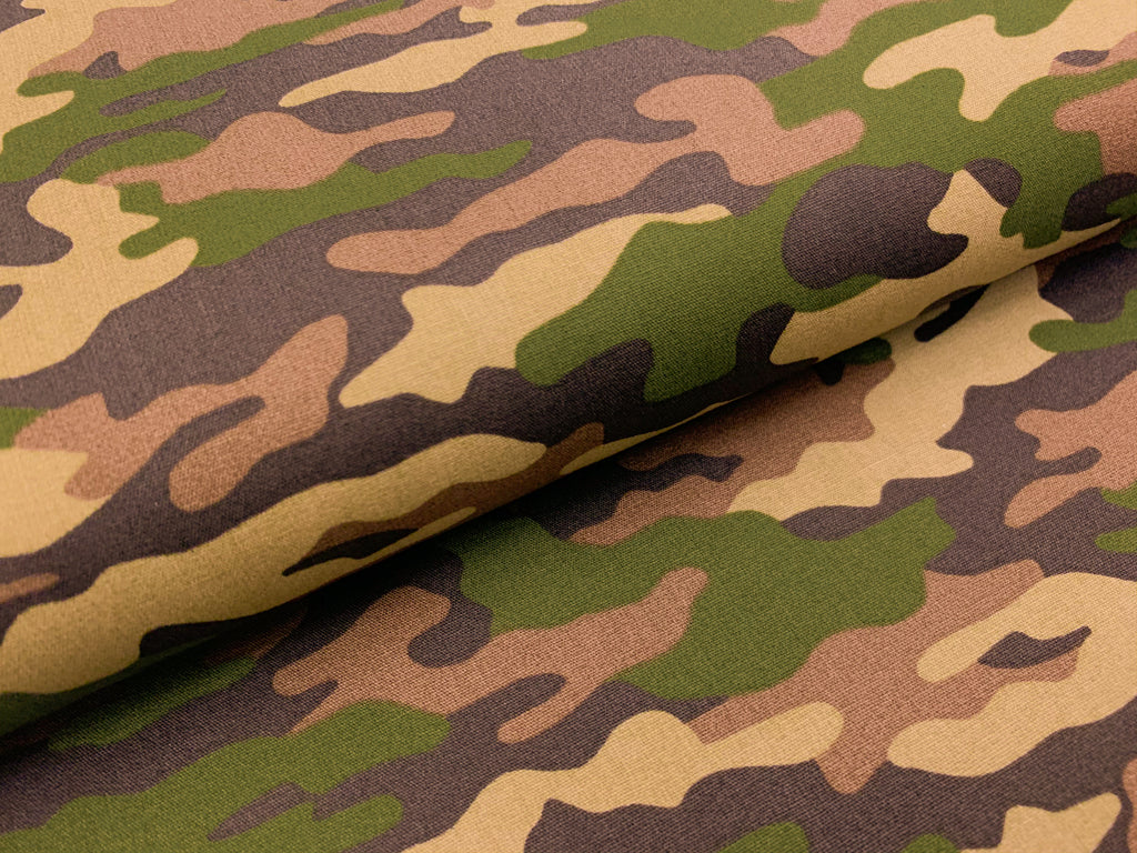 Green Camouflage, Woven Cotton Poplin by the 1/2 METER (4637964402748)