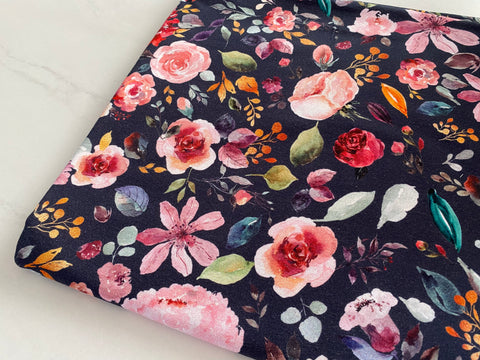 Painted Florals on Navy, per 1/2 meter, Digital Organic Jersey, European knits (6243260596409)