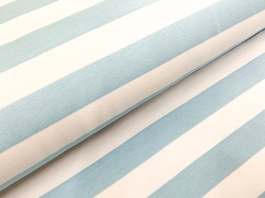 Inch-Wide Stripes- Light Blue - French Terry Knit Fabric. per 1/2 meter, European Knits