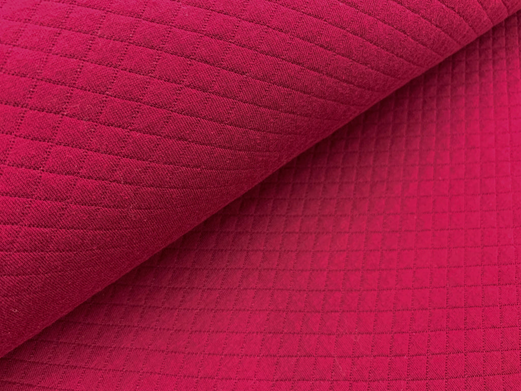 Bordo Wine, Diamond, Quilted Jersey Knit Fabric by the 1/2 Meter, European knits (3683933388860)