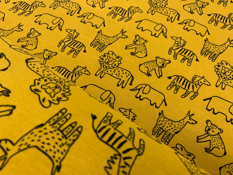 Happy Animals- Ocre, Organic  Brushed Knit Fabric by the 1/2 Meter, European knits (6005829337273)