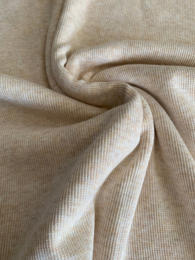 Heather Oatmeal Ribbing 2x2 Bamboo Cotton | PER 1/2 Meter | 275 GSM (4646996344892)