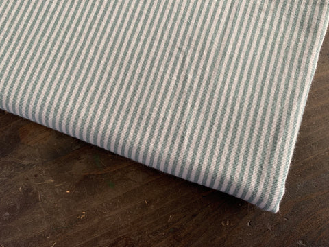 2 mm Dusty Sage-Grey Stripes, by the 1/2 m, Jersey Knit Fabric, European knits (3716797759548)