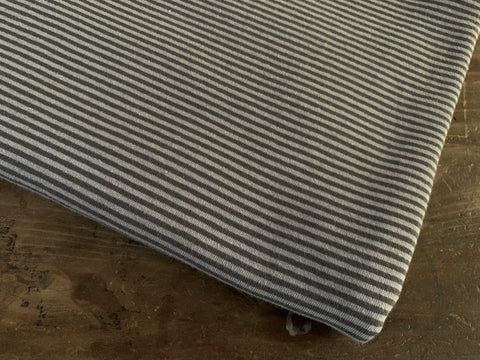 2 mm Charcoal-Grey Stripes, by the 1/2 m, Jersey Knit Fabric, European knits (3716816732220)