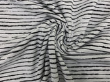 Black Sketchy Stripes on Ecru -  per 1/2 meter - Jersey - European knits (4449484275772)