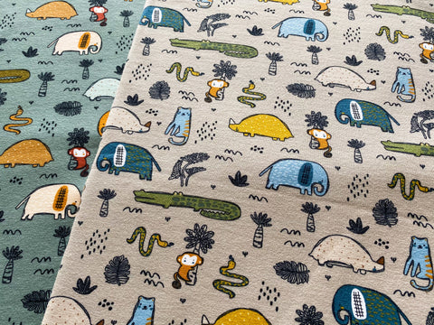 Safari Whimsy, per 1/2 meter, Digital Organic Jersey, European knits (6705098948793)