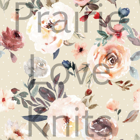 Joy Box Taupe Floral - JERSEY by the 1/2 metre - Valentine's Day Retail (6232290066617)