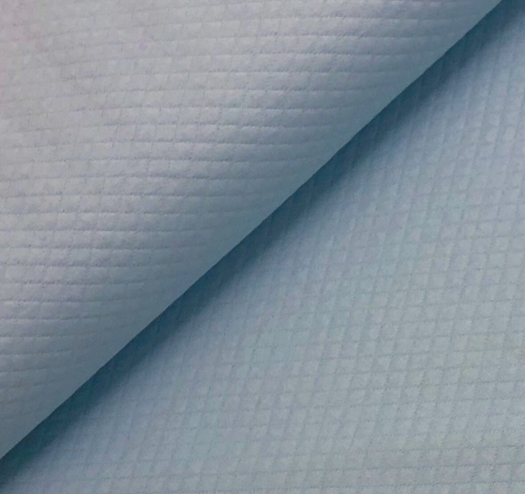 Baby Blue - Quilted, Diamond, Jersey Knit Fabric by the 1/2 Meter, European knits (4413321084988)