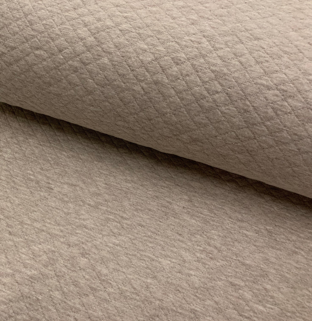 Sand Melange, Diamond, Quilted Jersey Knit Fabric by the 1/2 Meter, European knits (4627006849084)