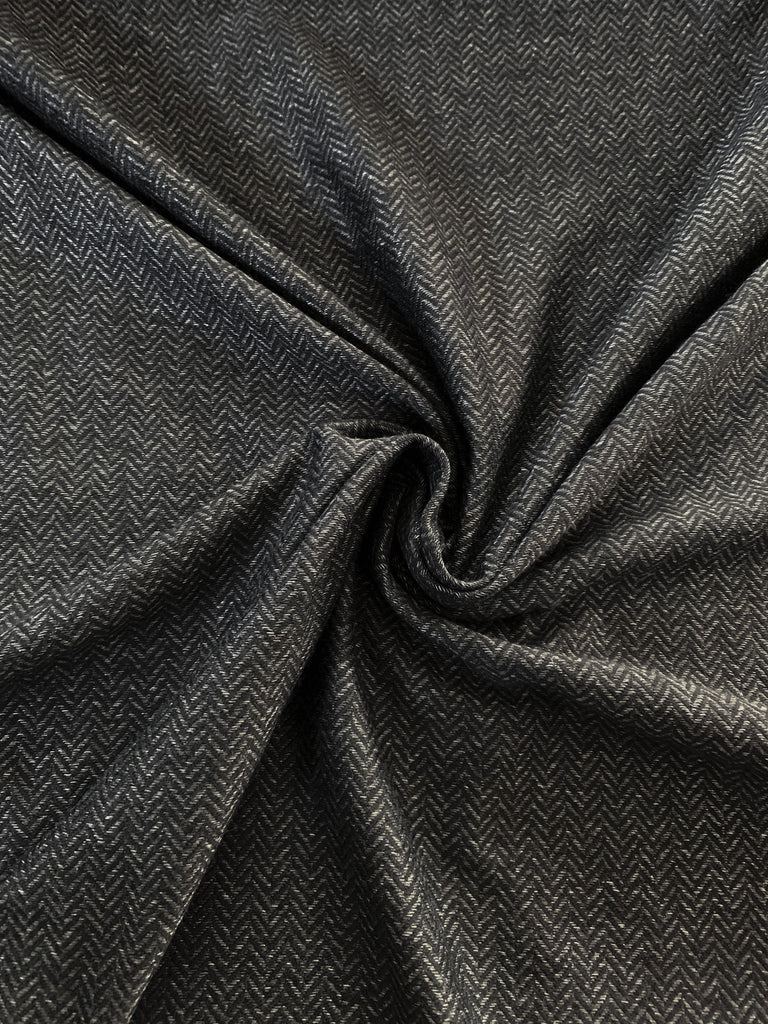 Heather Charcoal Herringbone, Apparel Knit Fabric, by the 1/2 METER (2550152822844)
