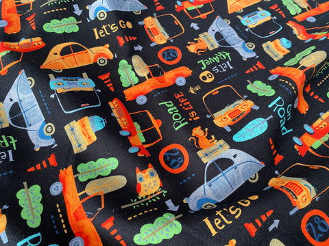 Let's Go Places, Organic French Terry Knit Fabric by the 1/2 Meter, European knits (6546000478393)